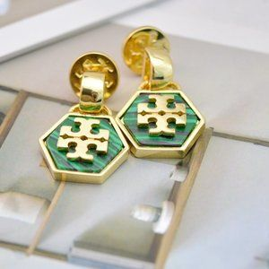 Tory Burch Vintage Shell Hexagon Logo Earrings